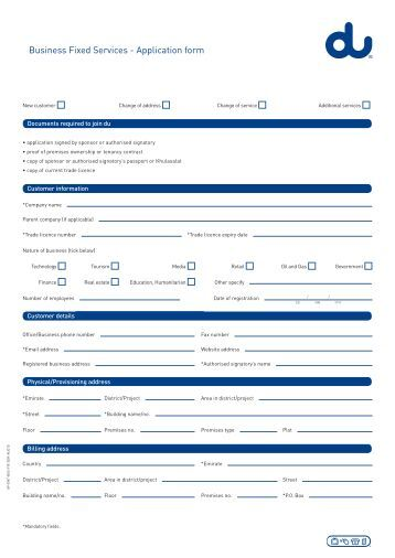 Business Fixed Services  Application Form  Du