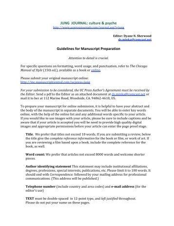 Manuscript Guidelines - University of California Press | Journals + ...