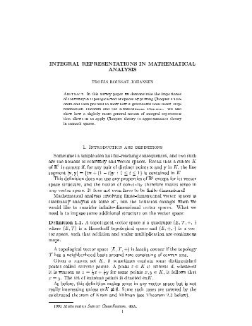 INTEGRAL REPRESENTATIONS IN MATHEMATIcAL ANALYSIS ...