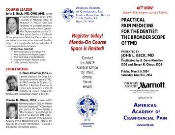 Beck course - Mar04 - PDF - American Academy of Craniofacial Pain