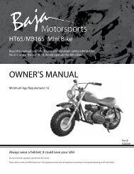 OWNER'S MANUAL - Baja Motorsports