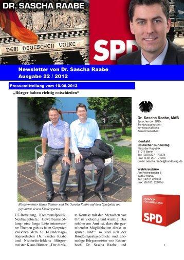 Newsletter von Dr. Sascha Raabe Ausgabe 22 / 2012