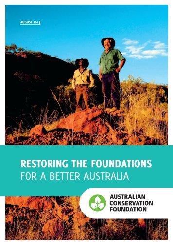 restoring the foundations for a better australia - Australian ...