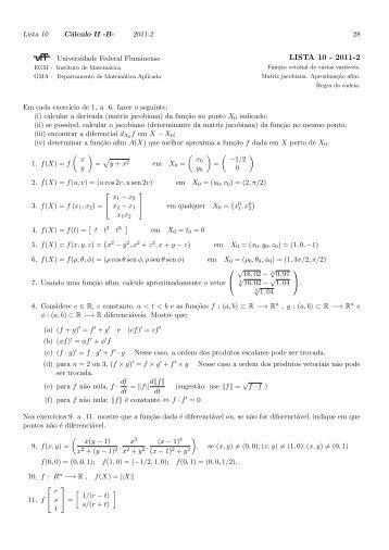 LISTA 10 - 2011-2 - Professores da UFF