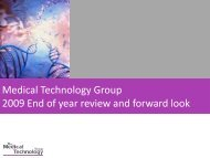 Medical Technology Group 2009 End of year review and forward look