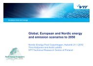 Global, European and Nordic energy and emission scenarios to 2050