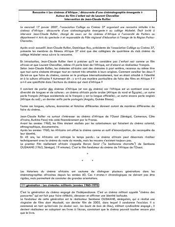 Intervention de Jean-Claude Rullier sur les cinémas d'Afrique