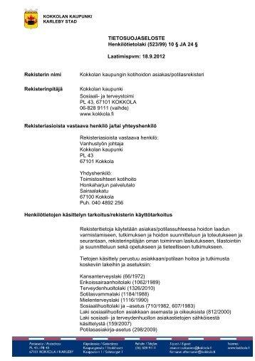 Kotihoidon potilasrekisteri - Kokkola