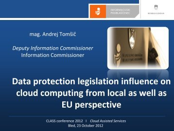 Data protection legislation - Cloud Assisted Services
