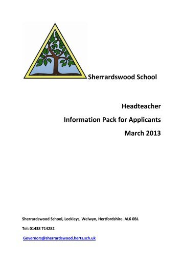 Sherrardswood School Headteacher Information Pack for ... - The TES