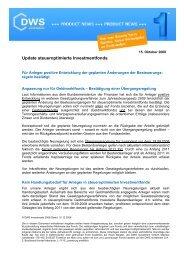 Update steueroptimierte Investmentfonds