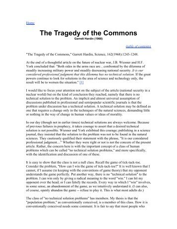 tragedy of the commons article questions