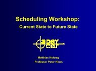Scheduling Workshop: - 3DayCar