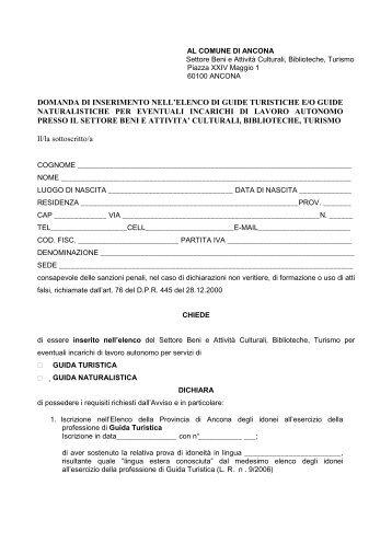 domanda elenco guide turistiche 28022012.pdf - Comune di Ancona