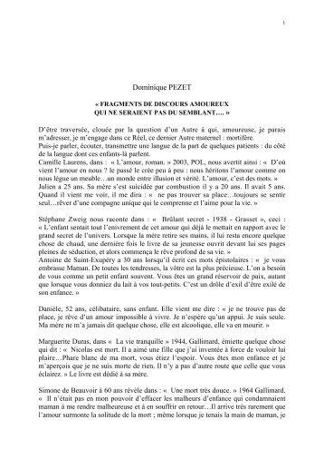 Dominique PEZET - groupe régional de psychanalyse