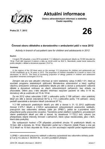 Aktuální informace č. 26/2013 - ÚZIS ČR