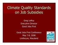 Climate Quality Standards on Job Subsidies - Good Jobs First