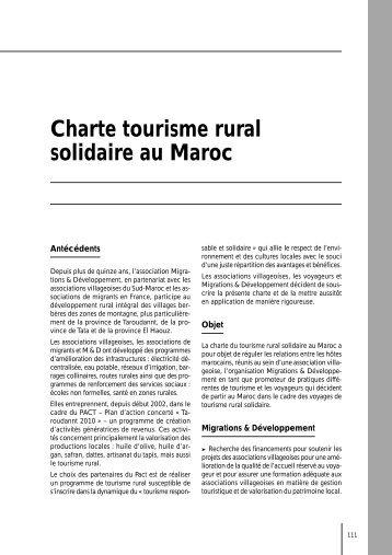 Charte tourisme rural solidaire au Maroc - Le tourisme solidaire