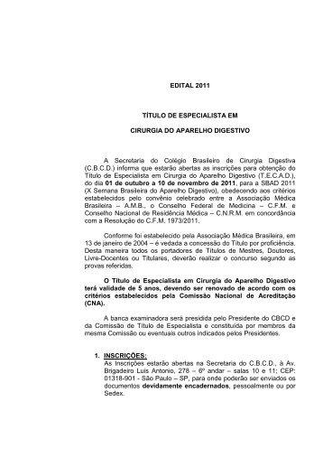 Edital - Colégio Brasileiro de Cirurgia Digestiva