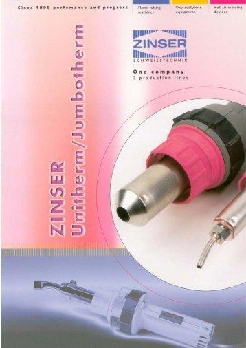 Brochure Unitherm / Jumbotherm - Zinser Schweisstechnik GmbH