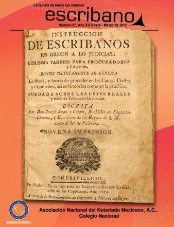Escribano Número 57 Año XV, Enero - Abril de 2012