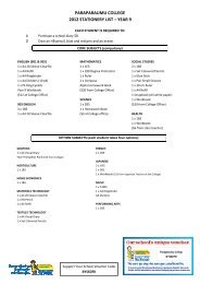 Paraparaumu College Stationery Lists - Warehouse Stationery