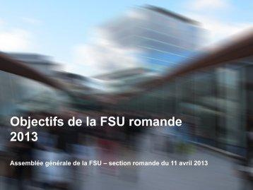 Objectifs FSU-R 2013 - FSU • Fédération suisse des urbanistes ...