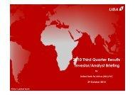 2010 Nine Months Investor Presentation - UBA Plc