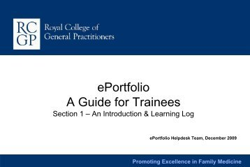 ePortfolio A Guide for Trainees - the Northern Deanery