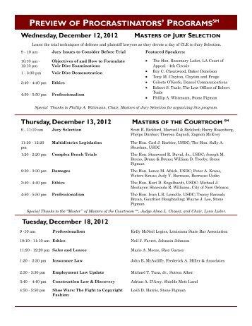 Calendar of Programs 2012.pub - New Orleans Bar Association