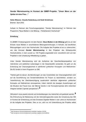 """""""Gender Mainstreaming"""" im Rahmen des Programms """"Neue Medien ..."""