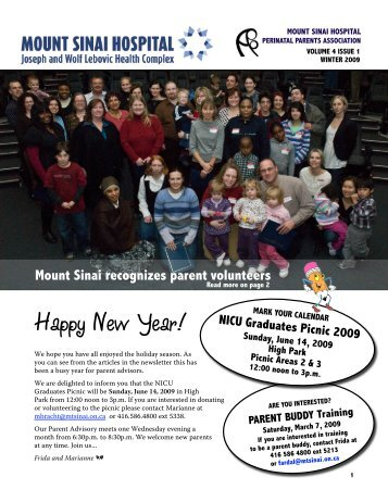 Preemie News Winter 2009 - Mount Sinai Hospital
