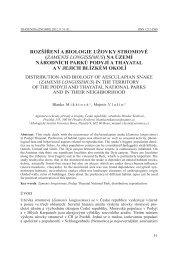 Rozšíření a biologie užovky stRomové - Národní park Podyjí