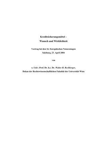 Kreditsicherungsmittel – Wunsch Und Wirklichkeit - Österreichische ...