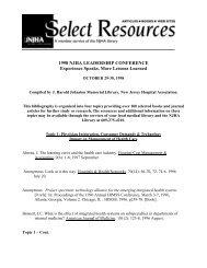 1998 NJHA Leadership Conference Experience Speaks, More ...