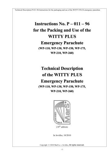Instruction for the Packing and Use - MarS as