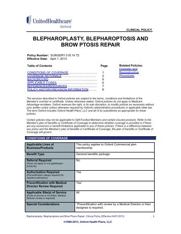 Blepharoplasty, Blepharoptosis and Brow Ptosis Repair