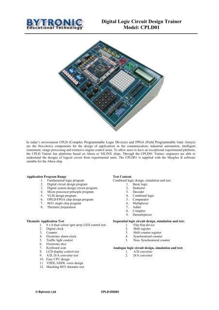 Digital Logic Circuit Design Trainer Model: CPLD01