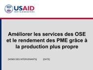 Améliorer les services des OSE et le rendement des PME grâce à la ...