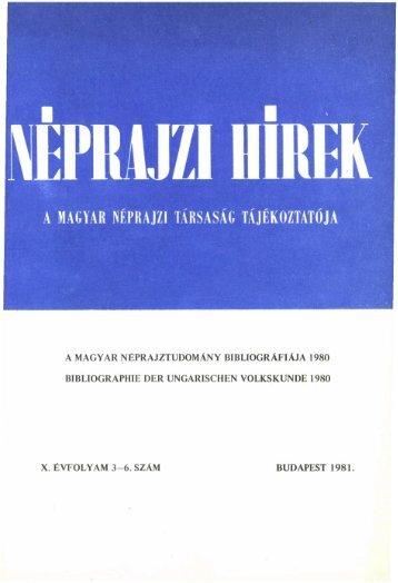 A magyar néprajztudomány bibliográfiája 1980 ... - Néprajzi Múzeum