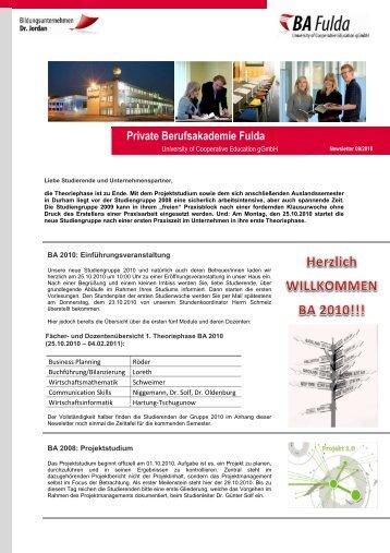 Newsletter 09/2010 - Private Berufsakademie Fulda