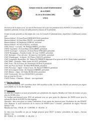Compte rendu du conseil d'administration de la FGWCF du 15 au 16 ...