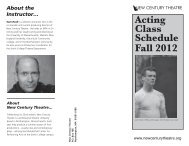 Acting Class Schedule Fall 2012 - New Century Theatre
