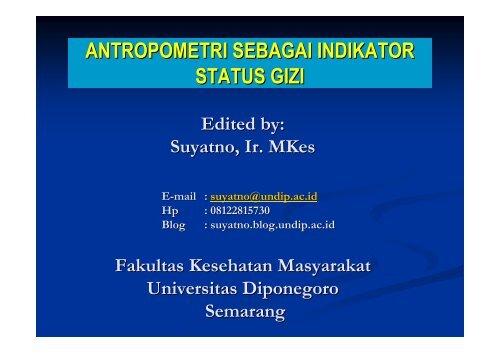 Anthropometri Gizi - Suyatno, Ir., MKes - Undip