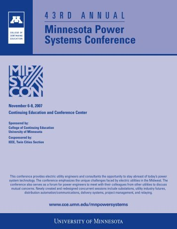 Minnesota Power Systems Conference - College of Continuing ...