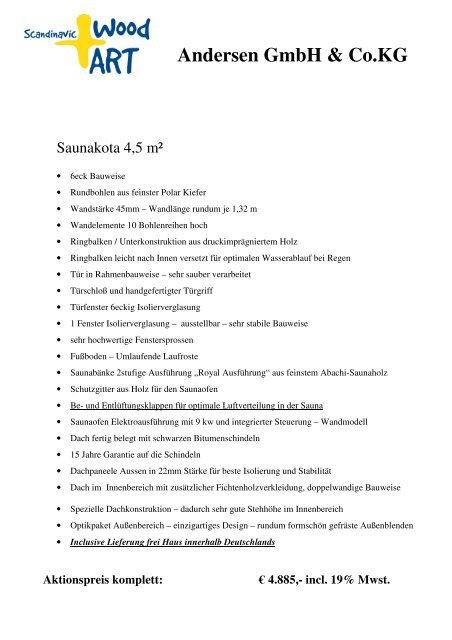 Angebotsvorlage Sauna 45 2010 Pdf Scandinavic Wood Art