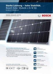 Starke Leistung – hohe Stabilität. Bosch Solar Module c-Si M 60