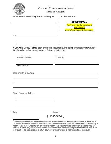 Workers' Compensation Board State of Oregon SUBPOENA ...