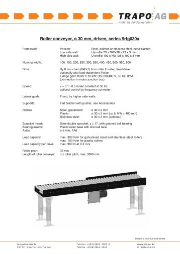 Roller conveyor, ø 30 mm, driven, series 9rfg030a