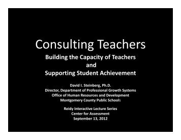 Consulting Teachers - Center  for Assessment